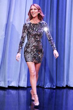 Celine Dion made her appearance on The Tonight Show with Jimmy Fallon in a glitzy glam mini dress to remind us she's a superstar.