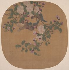 Flowers with Birds ( Ming or Qing dynasty Chinese. Silk painting by an unidentified artist. Image and text courtesy The Met. Plant Painting, Silk Painting, Painting Frames, Chinese Painting, Chinese Art, What Is Design, Bird Artists, Bird Poster, Maker Culture