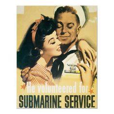 RESTORED Submarine Navy Propaganda Poster from Zazzle.com