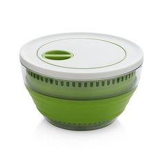 This clever design reduces the bulk of the typical salad spinner in a collapsible format that folds down to nearly half its size when not in use. Full size, the salad spinner quickly washes and dries lettuce by turning the leveler at the top of the lid. Interior basket not only drains water in the spinner but also functions separately as a colander.