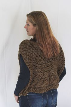 Brown poncho, sweater poncho, sleeveless sweater, chunky poncho, handknit poncho, cable poncho, buttoned poncho, handknit wrap,ready to ship
