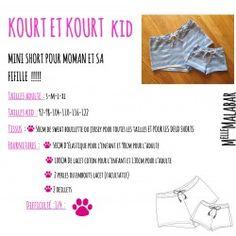 Patron et tutoriel - Ensemble short femme et enfant Kourt et KourtKid - format pdf