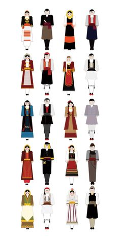illustrations based on the traditional garments of Greece.Goal of the project is to present each regional costume in a modern way using basic shapes but close to the originals forms, colors and patterns. Greek Traditional Dress, Traditional Outfits, Mykonos, Greek Dress, Dance Costumes, Greek Costumes, Greek Language, Greek Culture, Greek Art