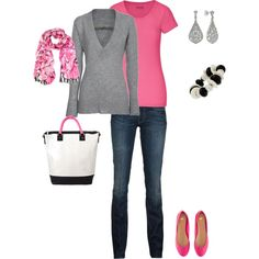 Chic pink and gray outfit, created by romigr99 on Polyvore  I think I need some bright pink flats in my life