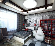 wandgestaltung jugendzimmer junge beispiel rot schwarz weiß tapete