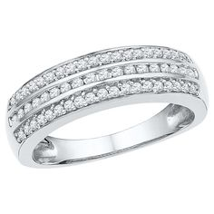 1/3 CT. T.W. Round Diamond Channel and Pave Set Fashion Ring in 10K White Gold