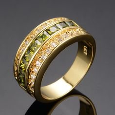 Fashion Olive Green Peridot Rings for Women Men 10KT Yellow filled rings Unique Rings Fine Jewelry