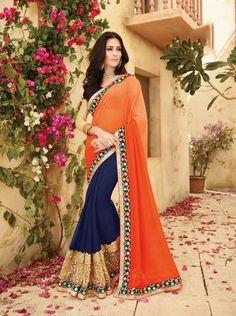 Orange, Navy Blue & Beige Georgette & Chiffon Saree ,Indian Dresses - 1