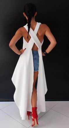 New Extravagant tunic, asymmetrical top WOMAN by Rocklessa,X-back,efekt back /High Quality/ Chic Outfits, Trendy Outfits, Dress Outfits, Casual Dresses, Fashion Dresses, I Love Fashion, Fashion Beauty, Womens Fashion, Fashion Design
