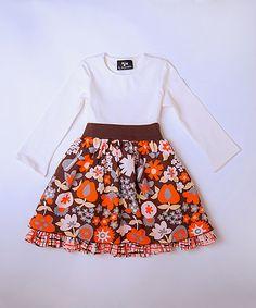 Look what I found on #zulily! Orange & White Floral Petticoat Dress - Infant, Toddler & Girls #zulilyfinds