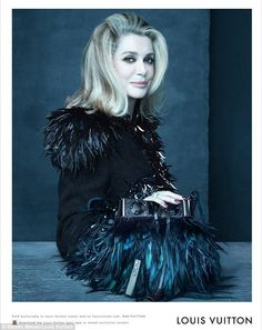 …at 70, Catherine Deneuve - a longtime muse to Marc Jacobs - is the oldest subject in Marc Jabob's last advertising campaign for Louis Vuitton…élégance et la beauté…