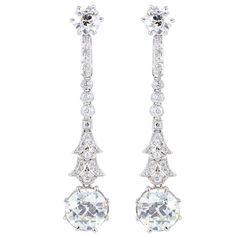 5.36CTW Old European Diamond Drop Earrings | From a unique collection of vintage dangle earrings at http://www.1stdibs.com/jewelry/earrings/dangle-earrings/