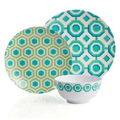 Perspective Dinnerware Aquamarine from Z Gallerie - Graphic, bold, and exclusive to Z Gallerie. With a dynamic interlocking geometric pattern, in hues of aquamarine and mint juxtaposed against a crisp white background, our Perspective Dinnerware is as chic as it is modern. Having outdoor use in mind, our Perspective collection has been expertly crafted out of melamine for ease of use. Dishwasher safe. Not recommended for microwave.