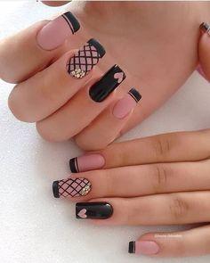 Acrylic Nails Natural, Cute Acrylic Nails, Cute Nails, Pretty Nails, Gel Nails, Nail Polish, Cute Nail Art Designs, Black Nail Designs, Acrylic Nail Designs