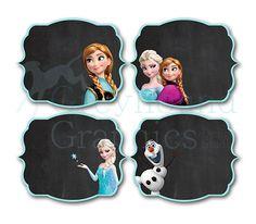 Frozen birthday food label set - Disney's Frozen - Disney Princess - Princess Anna - Labels-Tag- Stickers - Girl Chalkboard Card - Printable...