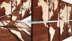 DESIGN: XL World Map  SIZE: Each panel is 12x12 // total dimensions 24x48  PANEL TYPE: Dark Stained Birch  DETAILS: Each panel is screen printed by hand and is 100% made by us in our art studio. Art is made by hand so it may have imperfections due to the nature of the hand printing process. This listing is for a custom collection that will be similar to the one pictured. Woodgrain always has variance in color and grain. Colors may vary due to computer monitor calibrations. Comes ready to…