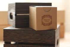 "kraft favor box, OLd FaShiOn ThAnK YoU x12, gift favor box, natural kraft 2x2"" gift box. $12.00, via Etsy."