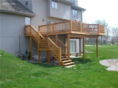 2nd story deck with stairs design images second story for High elevation deck plans
