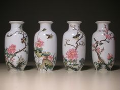 """Beautiful Chinese Polychrome Four Season Vases. Height: 5"""" inches. 20th century, China."""