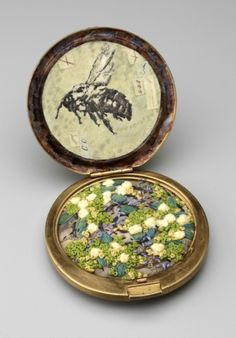 Sharon McCartney, In Quest of Treasure, mixed media altered vintage compact with vintage ephemera, drawing and embroidery