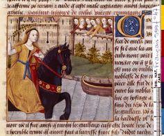 Flight of Cloelia. Boccacio, de mulieribus claris/Le livre de femmes nobles et renomées (trad. anonyme), 15-16th century, France (Cognac). Bibliothèque Nationale MS Français 599 fol. 47.