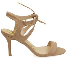 Lita-09 Taupe Lace Up Front Single Sole Heels