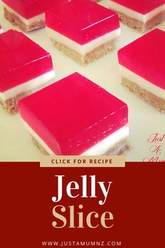 This is the best Jelly Slice recipe you will find. I have added a hint of lemon zest foodto the layers which brings out even more flavour. So easy to make, the perfect thing for kids, parties, christmas, like a cheesecake but not. Jelly Recipes, Sweet Recipes, Baking Recipes, Onion Recipes, Pudding Recipes, Yummy Recipes, Yummy Food, Dessert Simple, Quick Dessert