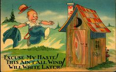 Bathroom Outhouse Comic Humor by markopostcards on Etsy, $2.99