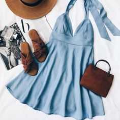 summer outfits with blue jeans best outfits - Page 35 of 75 - cute dresses outfits Cute Dresses, Casual Dresses, Casual Outfits, Summer Outfits, Halter Dress Casual, Summer Dresses, Halter Dress Summer, Dress Ootd, Prom Dresses