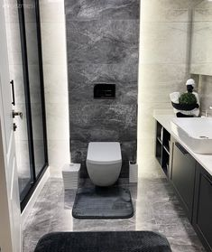 Wc Bathroom, Modern Bathroom, Small Bathroom, Washroom Design, Bathroom Interior Design, Interior Decorating, Classic Bathroom, Dream Rooms, Black Walls