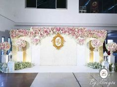 Wedding decorations stage backgrounds ceremony backdrop ideas for 2019 Wedding Stage Design, Wedding Reception Lighting, Wedding Stage Decorations, Wedding Mandap, Wedding Backdrops, Blue Gold Wedding, White Wedding Bouquets, Wedding Dresses, Flower Wall Backdrop