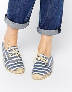 Soludos Derby Navy Stripe Lace Up Espadrille Flat Shoes