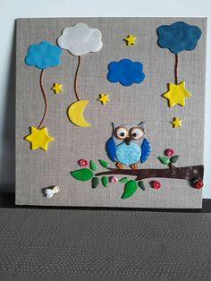 Tableau  toile HIBOU en fimo décoration chambre enfant Découvrez mes créations 100 % fait main, sans moulage et unique sur ma boutique : www.etsy.com/fr/shop/MesideesdeJenni