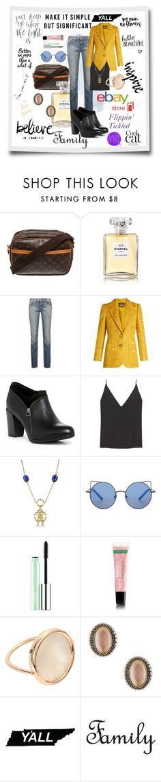 """I'm A Y'All Kinda Gal ~ Who Are You Contest"" by flippintickledinc ❤ liked on Polyvore featuring Louis Vuitton, Chanel, Just Cavalli, Roberto Cavalli, Clarks, J Brand, Matthew Williamson, Clinique, Ginette NY and Lagos"