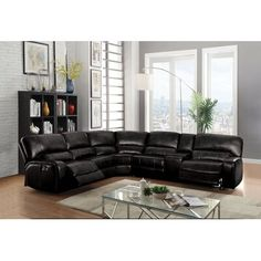 Acme 54150 6 pc Red barrel studio liska euro black leather-aire sectional sofa with power recliners. This set includes the LAF recliner with power , armless chair, corner wedge, armless chair, drink console and RAF recliner with power. Black Sectional, Leather Reclining Sectional, Sectional Sofa With Recliner, Living Room Sectional, Reclining Sofa, Living Room Furniture, Black Sofa, Armless Chair, Acme Furniture