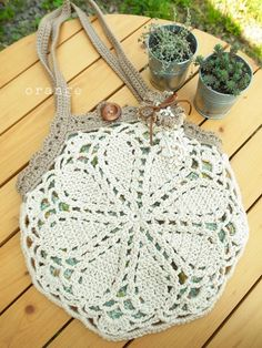 crochet - bag - lacy doily granny-bag - very pretty - clever handles picked up from 3 upper edges of octagon