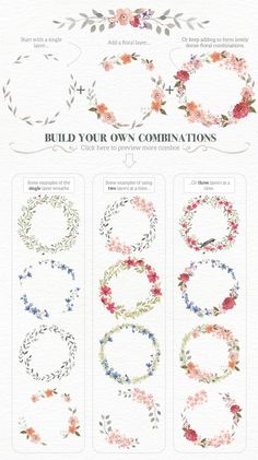 Drawing On Creativity Watercolour Wreath Creator by Lisa Glanz on Creative Market Wreath Watercolor, Watercolor Flowers, Watercolor Paintings, Watercolor Wedding, Watercolor Border, Watercolors, Project Life Karten, Karten Diy, Painting & Drawing