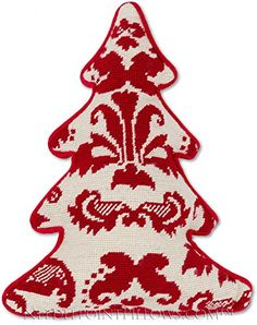 Handmade Designer 100 Wool Classic Needlepoint Decorative Winter Holiday Antique Style Red White Christmas Tree Traditional Throw Pillow 12 x 15 >>> Check out this great product.