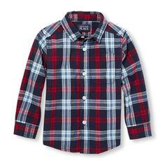 Toddler Boys Long Sleeve Plaid Poplin Button-Down Shirt