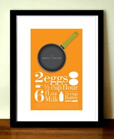 Cheerful pancake recipe poster which will always remind you how to make pancakes. Striking minimalist poster which will look great on any kitchen wall...