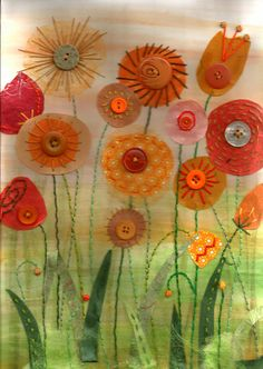 felted wool crafts Autumn glow - Textile mixed media by Christine Pettet Art Free Motion Embroidery, Free Machine Embroidery, Embroidery Applique, Fabric Postcards, Fabric Cards, Button Art, Button Crafts, Sewing Art, Sewing Crafts