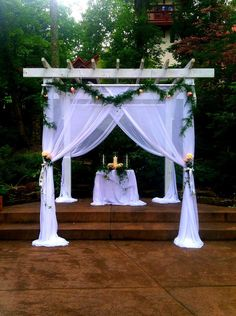 A beautifully decorated pergola at Landoll's Mohican Castle. I love performing ceremonies here! Call me to schedule yours! www.OhioWeddingLady.com - Minister/Officiant