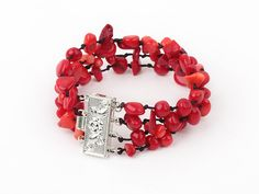 Wonderful Multi Strand Mixed Red Coral Black Threaded Bracelet With Inserted Closure