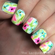 Birthday Nails: Abstract Florals!