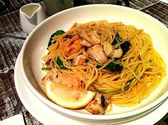 Charcoal grilled seafood spaghetti