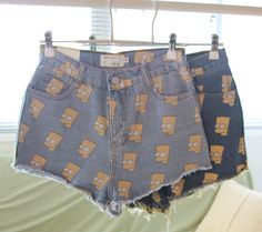 Bart Simpson Print Jeans Shorts colors available) Shorts Jeans, Cute Shorts, Printed Denim, Alternative Fashion, Look Fashion, Fashion Clothes, Types Of Fashion Styles, Bart Simpson, Dress To Impress