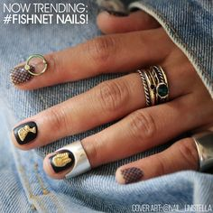 Now Trending - Fishnet Nails: This year at Fashion Week there was a revival of an '80s favorite on both the catwalk and in street styles. Fishnets were seen under skirts, pants, dresses and peeking through ripped jeans. And now this subtle nod to grunge, sexuality and bygone era's can be seen in nails with #Fishnet Nails!