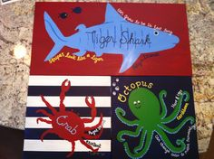 Tiger Shark, Octopus, Crab (set of 3)- Customize Colors Available/ Ocean, Beach, Under the Sea, Surf Plaques on Etsy, $75.00