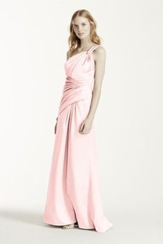 This one shoulder stretch satin dress is perfectly elegant for any occasion! Style F15752 at David's Bridal in Petal.