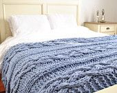 Chunky Cable Knit Blanket in light blue Cabled Wool Hand Knitted Blanket- made to order throw, full, queen, king bed sizes